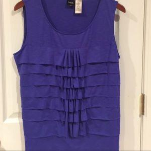 Raffaella royal blue ruffled front sleeveless top